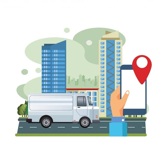 Trasporto di veicoli furgone bianco con illustrazione di scena di smartphone e gps