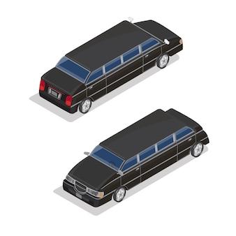 Trasporto isometrico. auto di lusso in limousine. auto isometrica.