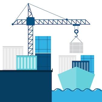 Trasporto marittimo e infografica logistica.