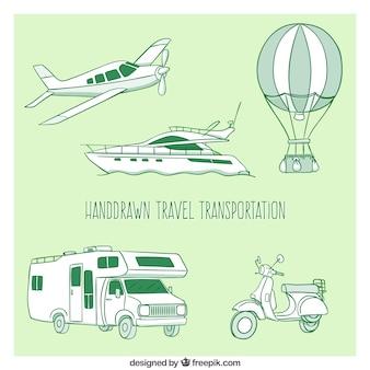 Trasporto pacchetto viaggio disegnato a mano