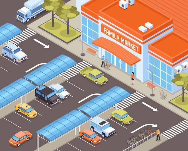 Trasporto personale sulla zona di parcheggio vicino all'illustrazione isometrica della costruzione del mercato