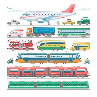 Trasporto pubblico autobus trasportabile o veicolo e aereo o treno illustrazione bicicletta per il trasporto in città set di ambulanza autopompa antincendio e auto della polizia su bianco