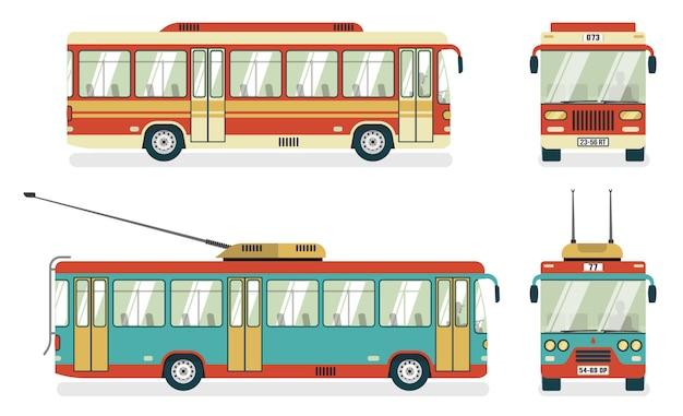 Trasporto pubblico bus trolleybus 4 icone