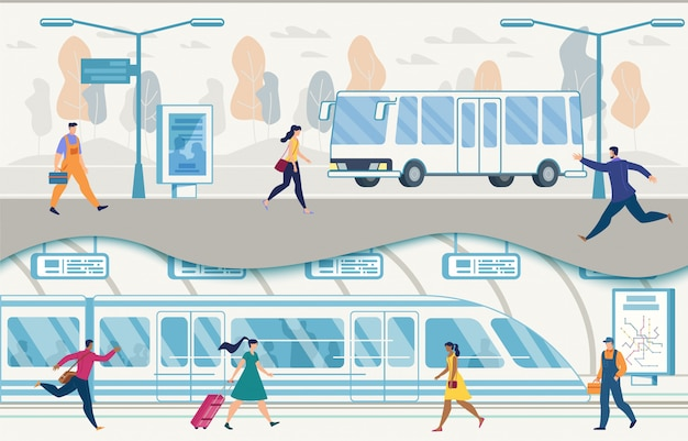 Trasporto pubblico della città con autobus e metropolitana vettoriale