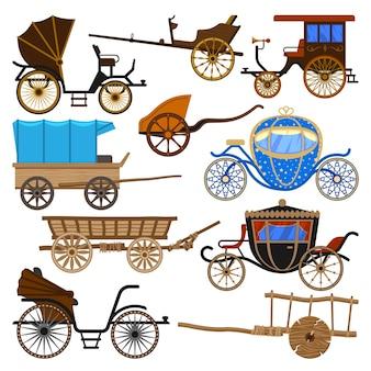 Trasporto vintage in carrozza con vecchie ruote e set di illustrazione di trasporto antico