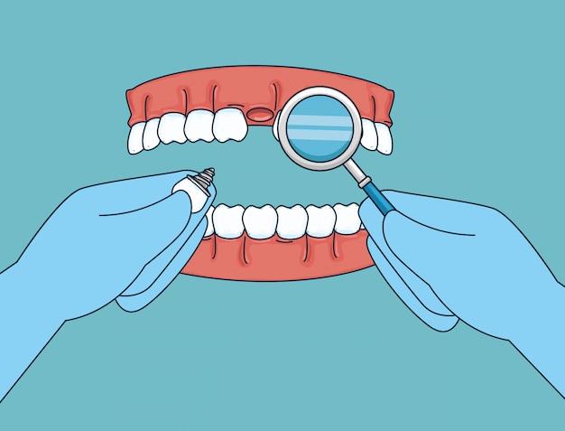 Trattamento dei denti con specchietto e protesi