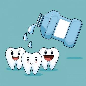 Trattamento di cura dei denti con attrezzatura per colluttorio