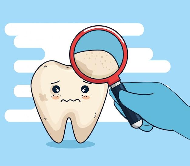 Trattamento di igiene dei denti con lente d'ingrandimento