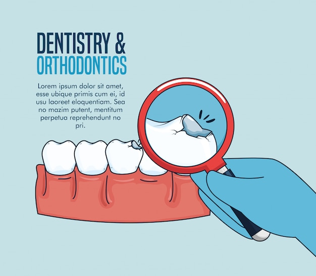 Trattamento di medicina dei denti e lente d'ingrandimento