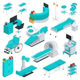 Trattamento di sanità di tecnologia della clinica dell'attrezzatura medica nell'insieme medicable dell'illustrazione dell'ospedale
