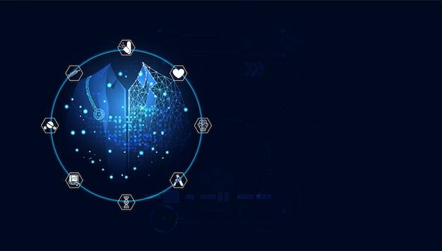 Trattamento medico del medico digitale blu