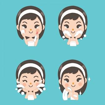Trattamento viso spray per schiuma facciale di bellezza.