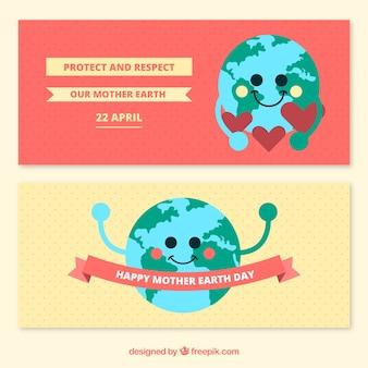 Tratteggiate bandiere di giorno madre terra con cute pianeta terra