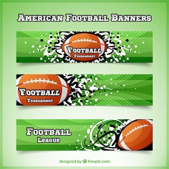 Tratteggiate striscioni di football americano con forme astratte e sfera