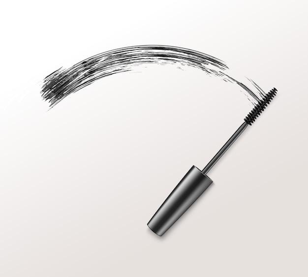 Tratti di pennello mascara realistico nero isolato su priorità bassa bianca