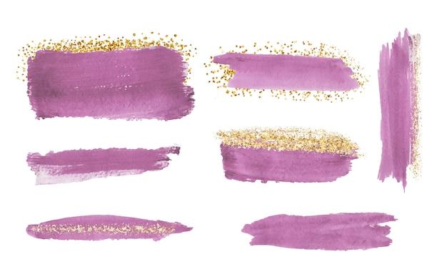 Tratto di pennello acquerelli rosa con texture glitter oro, coriandoli.