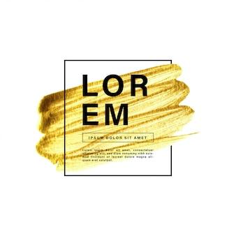 Tratto di pennello di vernice oro con cornice di confine e testo