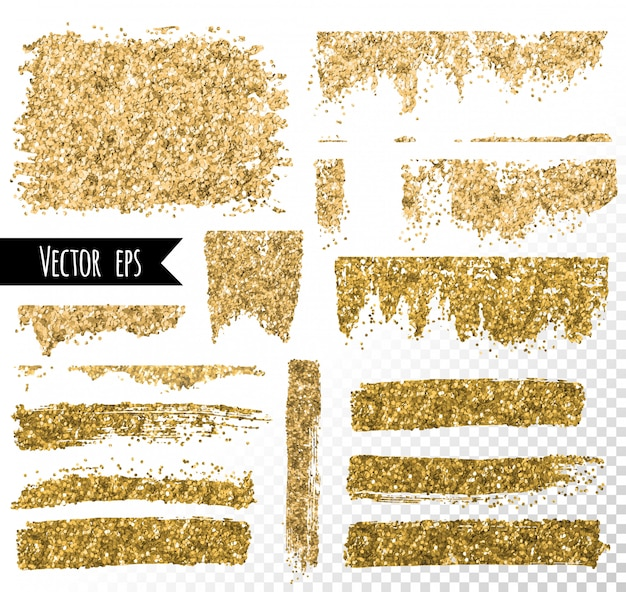 Tratto di pennello glitter dorato. punto di lamina d'oro.