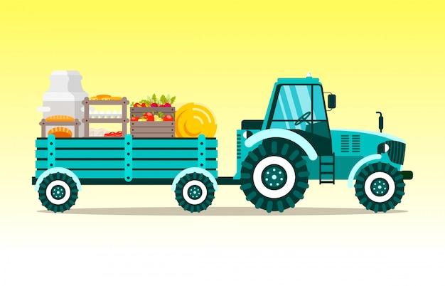 Trattore, agrimotor con l'illustrazione di vettore del carrello