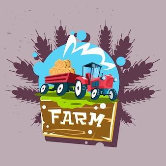 Trattore carry straw bale eco fresh farm logo