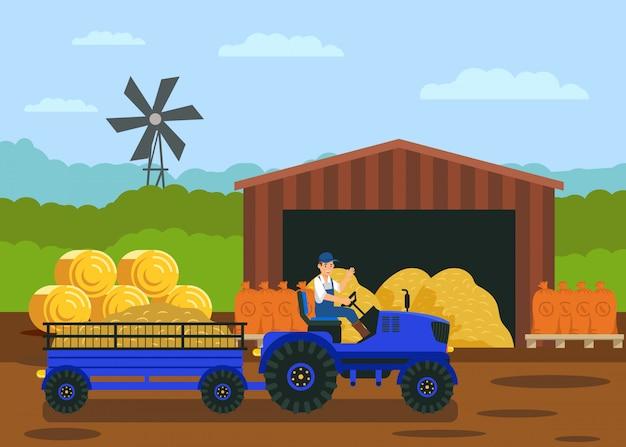 Trattore con il carrello nell'illustrazione di vettore del campo