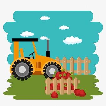 Trattore nella scena agricola