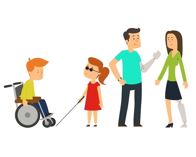 Trauma e lesioni, persone su sedia a rotelle, bambini e anziani.