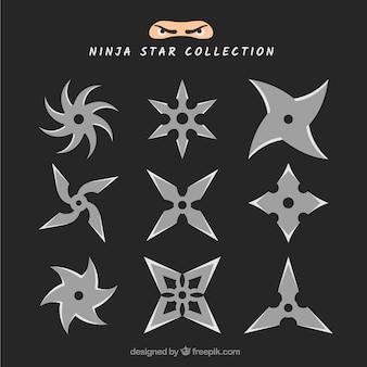 Trditional collezione di stelle ninja con design piatto