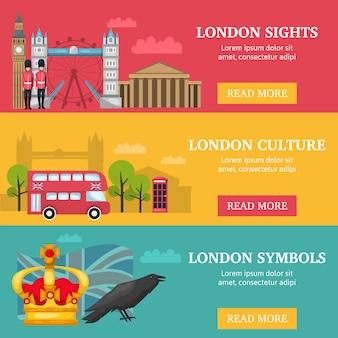 Tre bandiere orizzontali di londra impostate con descrizioni di simboli e cultura di attrazioni di londra