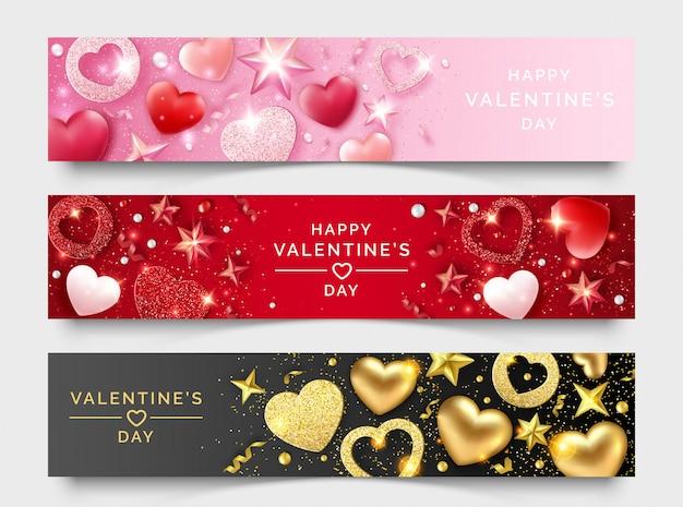Tre bandiere orizzontali di san valentino con brillanti cuori, nastri, stelle e palline colorate