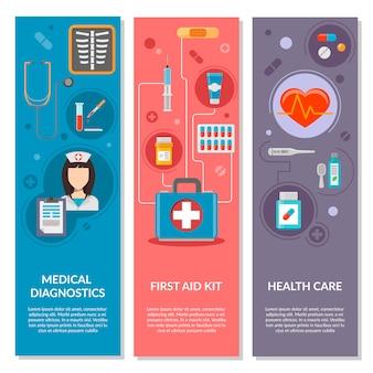 Tre bandiere verticali mediche con icone mediche in stile piano