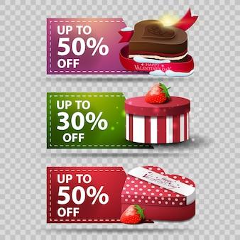 Tre banner di auguri per san valentino con cioccolatini e regali