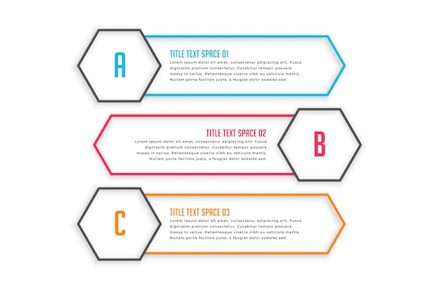 Tre banner di stile linea infografica