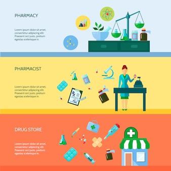 Tre banner orizzontale piatta con farmacista di attributi farmaceutici