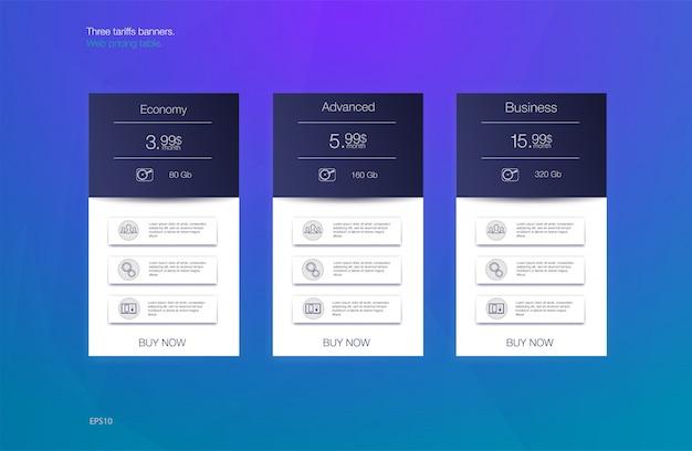 Tre banner tariffari. tabella dei prezzi web. disegno vettoriale per app web. listino prezzi.