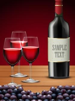 Tre bicchieri di vino rosso con bottiglia di champagne e uva