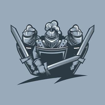 Tre cavalieri in armatura si proteggono. stile tatuaggio monocromatico.