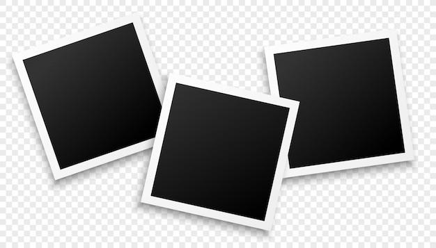 Tre cornici per foto su sfondo trasparente