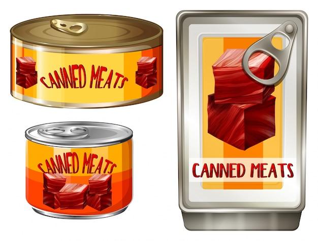 Tre disegno di illustrazione di carne in scatola