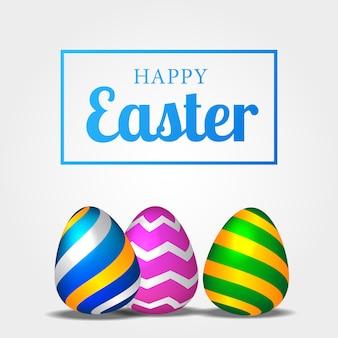 Tre divertenti uova colorate 3d realistiche per pasqua