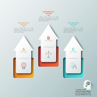 Tre frecce bianche rivolte verso l'alto, segni di linea sottile e caselle di testo. concetto di 3 principali fattori di crescita aziendale. modello di progettazione infografica creativa.