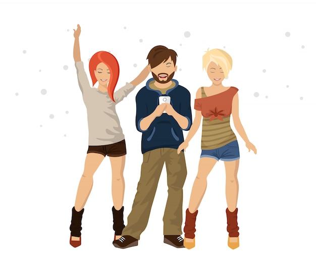 Tre giovani amici in piedi insieme come amici