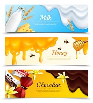 Tre insegne orizzontali di schizzi di melma gocciola l'insegna realistica messa con l'illustrazione di vettore del titolo del miele e del cioccolato del latte