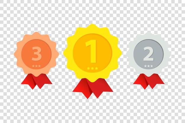 Tre medaglie di primo, secondo e terzo posto sono mostrate in trasparente. oro, argento e bronzo.