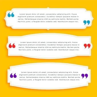 Tre modelli di citazione impostati con lo spazio del testo