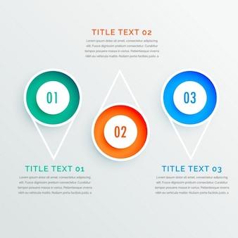 Tre opzioni passi cerchio infografica