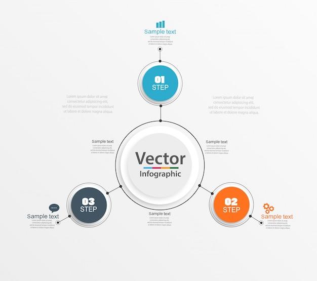 Tre passaggi infografica con cerchi colorati