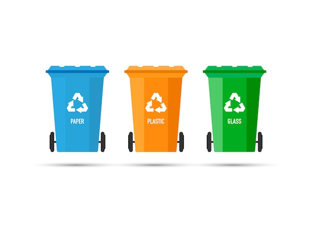 Tre pattumiere (bidoni della spazzatura) con segno di riciclo isolato. illustrazione vettoriale