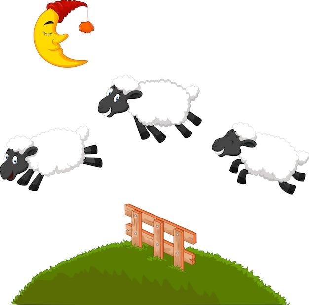 Tre pecore divertenti che saltano sopra una rete fissa