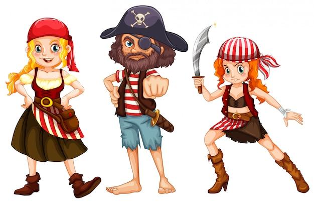 Tre personaggi pirata su sfondo bianco
